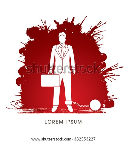 businessman dragging with ball