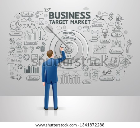 businessman drawing business