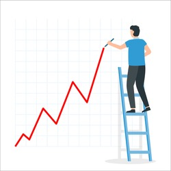 Businessman draws a growth chart standing on the stairs. Financial profit growth chart. Vector illustration.