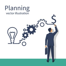 Businessman draws business strategy. Planning development of ideas. Process in form of infographics on steps. Vector illustration flat design. Isolated on white background. Successful people.