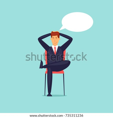 Businessman dreams. Flat design vector illustration.