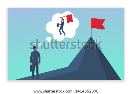 Businessman dreams of achieving goal. Human hold red flag on top of mountain. Business concept. Enjoys victory. Achievements in work. Vector illustration flat design. Isolated on white background.