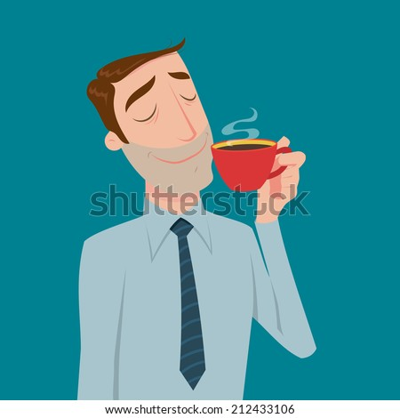 Businessman drinking coffee, tea break time in bright office.