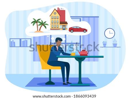 businessman drinking tea and