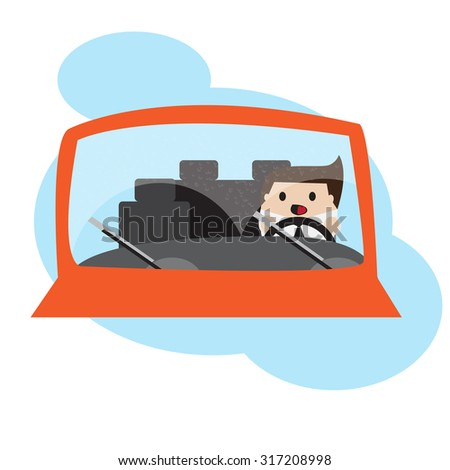 businessman driving car in