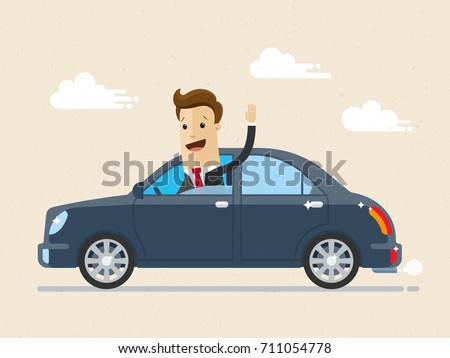 Businessman driving the car and waving to someone. Saying hello. Vector, illustration, flat