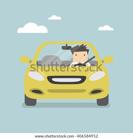 businessman driving yellow car