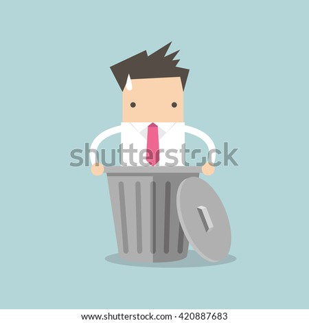 businessman dropped into trash