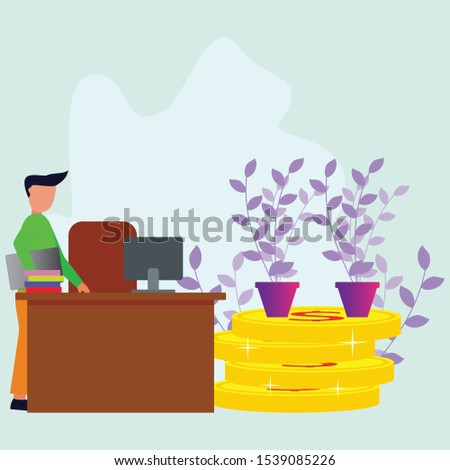 Businessman enters the room with a laptop, table and chair. Build a business with perseverance, financial consultant and a businessman. Vector flat illustration