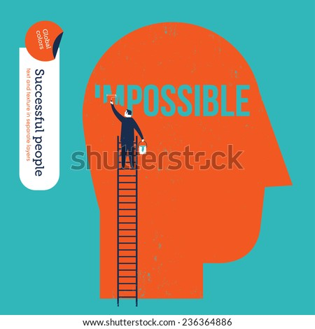 Businessman erasing the word impossible in a big head. Vector illustration Eps10 file. Global colors. Text and Texture in separate layers.