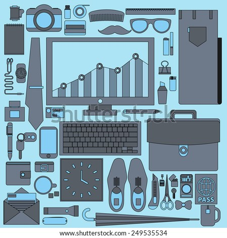 Businessman essentials. Office workflow equipment with various office tools and business objects for personnel to work. - Shutterstock ID 249535534