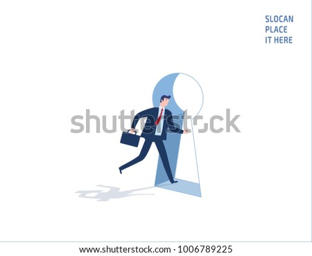 businessman exit keyhole door shape .
