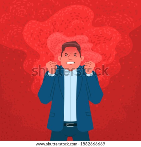Businessman expressing anger. Angry man in a flame of rage. Vector illustration in flat style