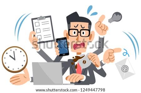 Businessman eyeglasses panicking too busy Stock foto ©