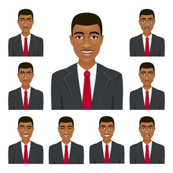 Businessman face. Nine different man expressions set. Vector cartoon avatar character on white background.