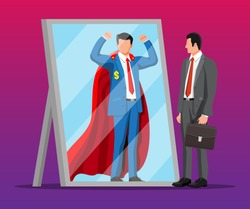 Businessman facing himself as superhero in mirror. Business ambition and success concept. Symbol of power, leadership, courage, bravery. Achievement and goal. Flat vector illustration