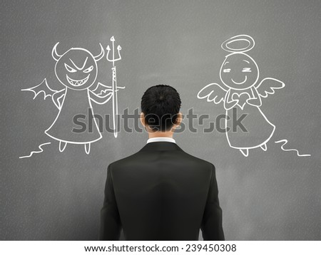 businessman facing of devil and