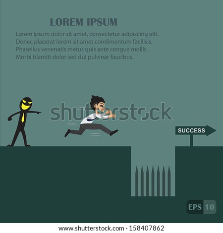 Businessman fall into a trap vector illustration