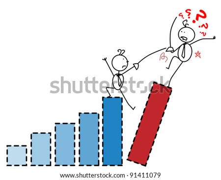Businessman fight chart - stock vector