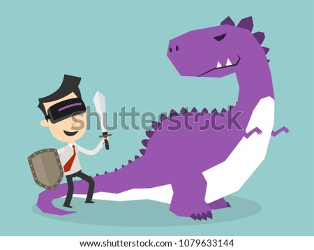 Businessman Fighting Dinosaurs in Virtual Reality, Business finance concept, Vector illustration