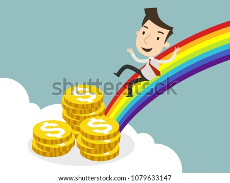 Businessman finds gold coin at the end of a rainbow, Business concept, Vector illustration