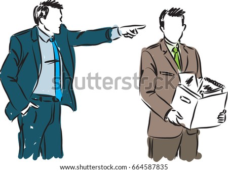 BUSINESSMAN FIRED EMPLOYEE VECTOR ILLUSTRATION