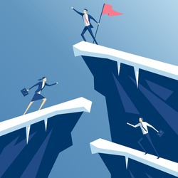 businessman first reached the summit of the mountain with a flag, business people competing in mountain climbing. employees run on the rocks to the flag, business concept win and competition