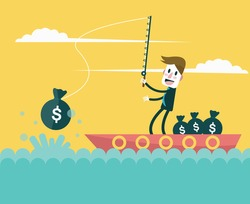 Businessman fishing money. Business and investment concept. vector