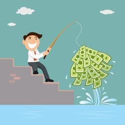 Businessman fishing money fishing business concept, vector illustration cartoon