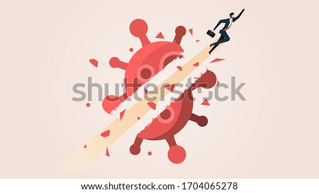 Businessman Fly Breakthrough Coronavirus Crisis. Business People Move on in the Coronavirus 2019 or Covid-19 Crisis Effect Concept. Conceptual Vector Illustration. Stockfoto ©