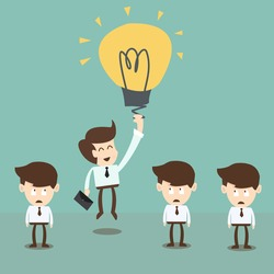 Businessman flying by idea bulb balloon,innovation and advantage in business