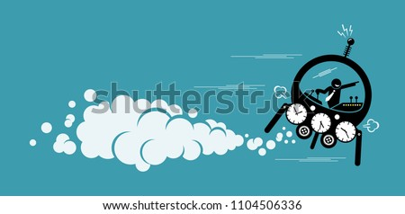 Businessman flying in a time machine going to the future or past. Vector artwork depicts time machine, back to the past, changing history and finding out about the future.