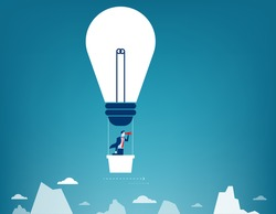 Businessman flying in the sky on hot air balloon. Looking over mountain peaks. Concept business illustration. Vector flat