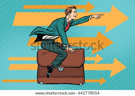 businessman flying on a leather