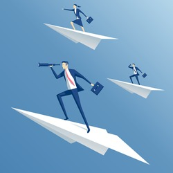 businessman flying on a paper airplane and looking through a telescope, business people flying on paper planes