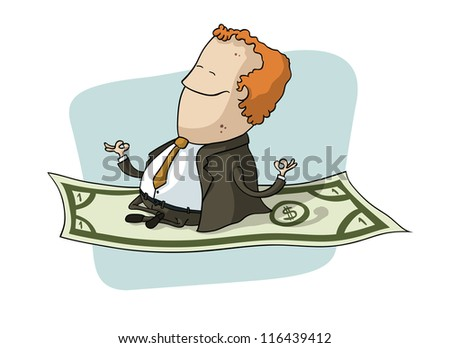 Businessman Flying on Dollar
