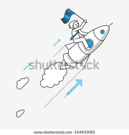 businessman flying on rocket....