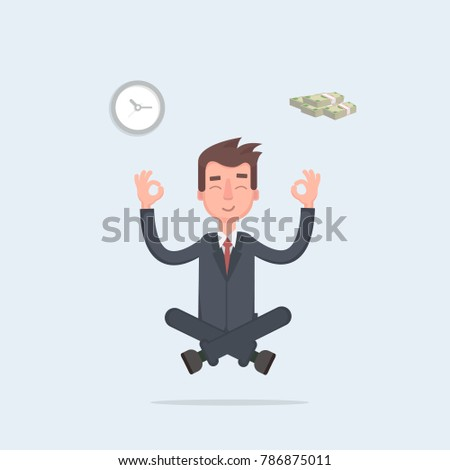 Businessman found his balance with time and money. Business man sitting and mindful meditating in lotus asana in zen peace and mental calmness. Vector illustration of a flat design.