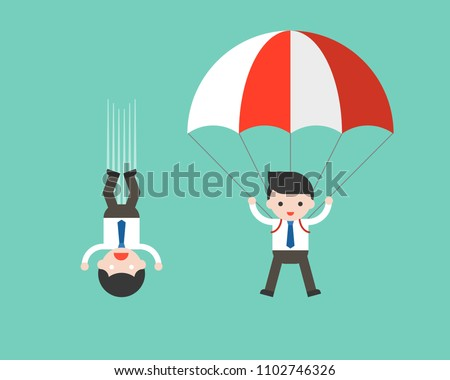 Businessman free fall from sky and using parachute, result of risk management concept