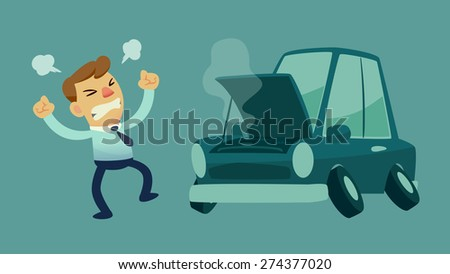 businessman get frustrated because his car broken down on the way to work