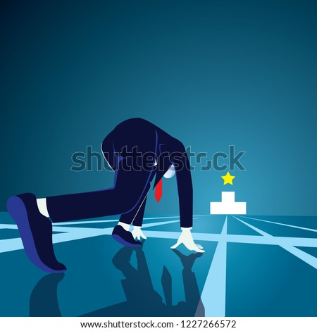 Businessman get ready on starting line. Starting career concept. Businessman in starting position ready to sprint run. Rear view. Vector illustration