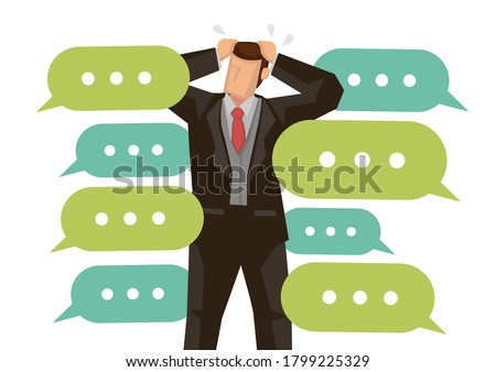 Businessman gets cyberbully from the social media Internet. Concept of social media problem, cyberbullying, and harassment. Flat vector illustration  Stock photo ©