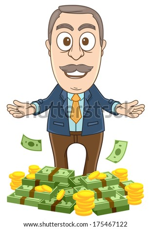 businessman gets lots of money