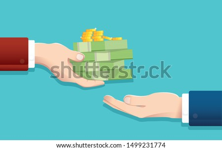Businessman give money , salary concept vector illustration EPS10 Stock photo ©