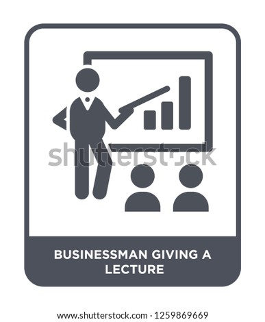 businessman giving a lecture icon vector on white background, businessman giving a lecture trendy filled icons from People collection, businessman giving a lecture simple element illustration