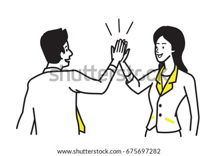 businessman giving high five to