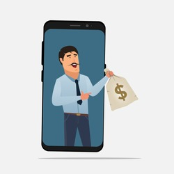 Businessman giving money bag through smartphone screen. Earn online freelancer concept. earning money through smartphone vector. Earn more money as passive income in internet.