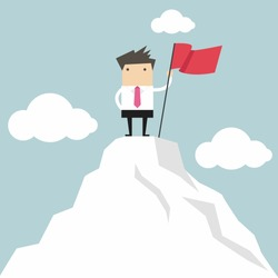 Businessman go to the top of mountain