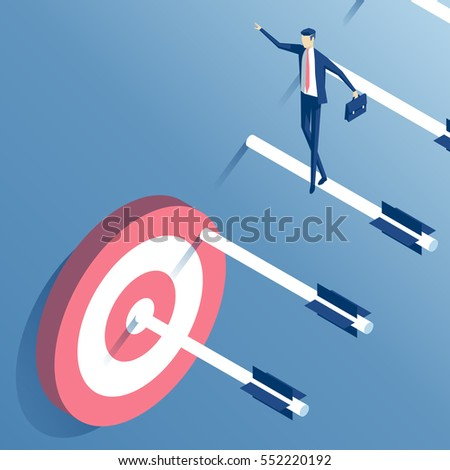 businessman goes up the stairs of arrows to the target, an employee walks down the ladder of arrows shot from a bow towards its goal. business concept the path to the goal