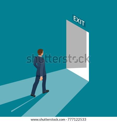 businessman going exit door